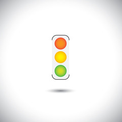 colorful traffic sign vector with red, orange & green lights