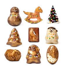 Handmade christmas chocolate toys.