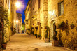 Ancient town of Pienza in Italy at night.