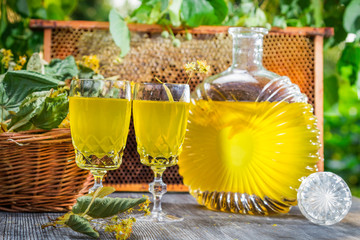 Homemade liqueur made of honey and lime in garden