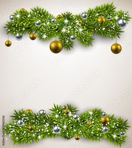 Fir bundle christmas frame.