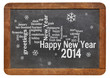 Happy New Year 2014 on blackboard
