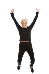 Happy old woman jumping.