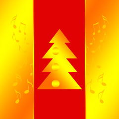 Christmas design with xmas tree and music notes