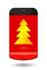 Smartphone with Christmas tree on touch screen