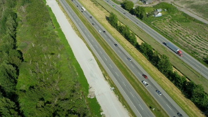 Aerial view of transport on Trans Canada Highway