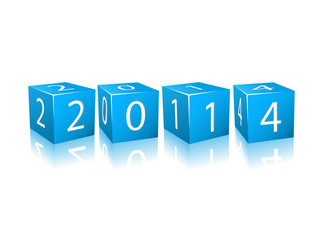 2014 Year Numbers on Blue Cubes
