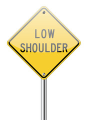 Low shoulder traffic yellow sign