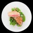 Lightly seared tuna steak, isolated