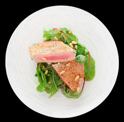 Lightly seared tuna steak, isolated