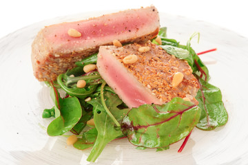 Lightly seared tuna steak