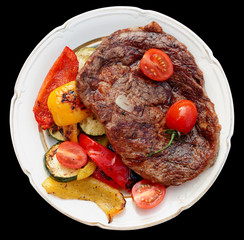 Kobe beef ribeye steak with grilled vegetables