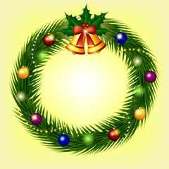 Christmas wreath with branches of spruce, bells and balls