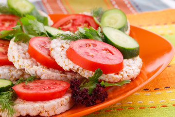 Puffed rice crackers sandwiches