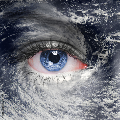 A green eye in the middle of a hurricane