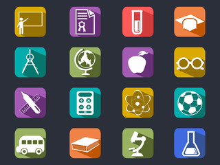flat education long shadow icons