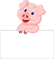 Cute pig holding blank sign