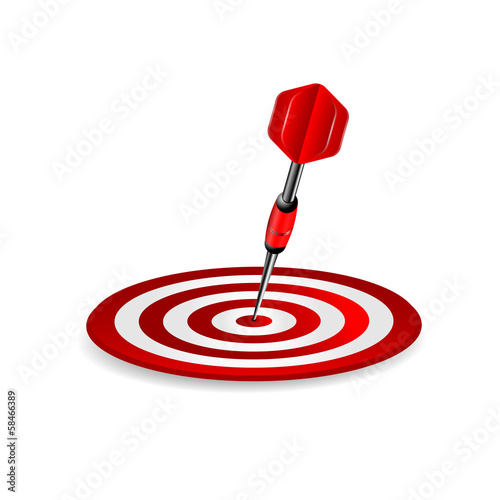 darts.target of red color and dart isolated on a white backgroun