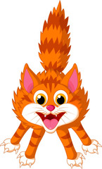 Cute cat cartoon screaming