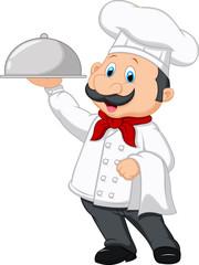Chef cartoon holding platter