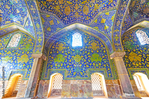Interior and ceiling of the Shah Mosque in Isfahan, Iran