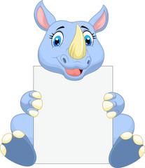 Cute rhino cartoon holding blank sign