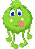 Hairy green monster cartoon