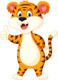 Cute tiger cartoon thumb up