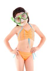 Girl in a swimsuit, beachwear, studio shot, scuba gear