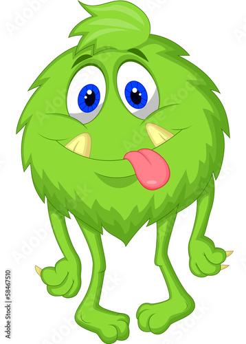 Hairy green monster cartoon - 58467510