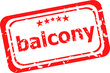 balcony word on red rubber grunge stamp