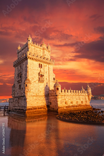 Belem Tower on a sunset, Lisbon, Portugal - 58467915