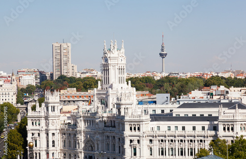 Closeup of Palacio de Comunicaciones and facade, Madrid, Spain