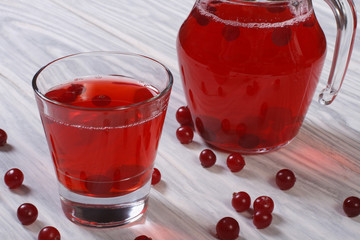 delicious juice from the berries of red cranberries