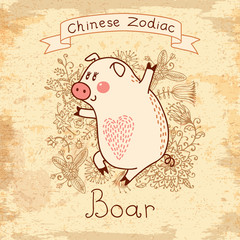 Vintage card with Chinese zodiac - Boar