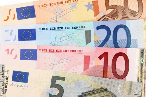 Billets de 5, 10, 20 et 50 euros