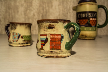coffee set, decoupage, handmade