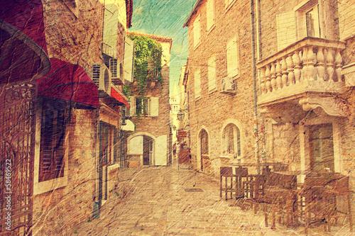 Budva, Montenegro. Picture in artistic retro style.