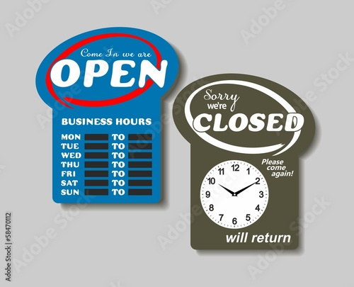 Business Sign on Chain, Open Closed Will Return, Digital Clock