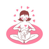 Illustration of a happy pregnant woman