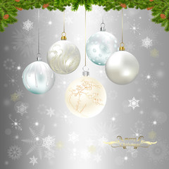 Background with silver Christmas baubles, illustration