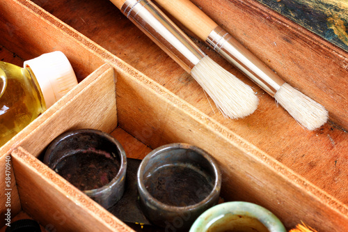 oil paint box and brushes for painting