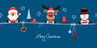 Santa, Rudolph & Snowman Gift Symbols Blue