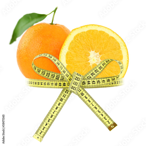 Orange with measuring tape, diet concept