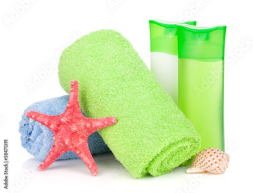 Bath bottles, towel and starfish