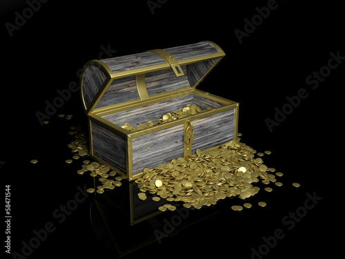 Chest with gold coins on black background