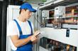 Leinwanddruck Bild - electrician worker inspecting