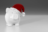Piggy bank - white pig with red santa hat
