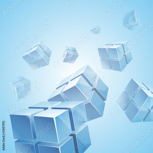 Flying blue transparent cubes background