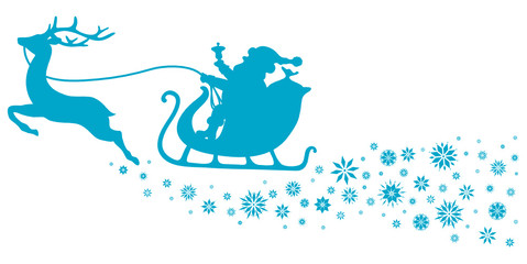 Christmas Sleigh & Snowflakes Blue